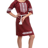 Льняное стильное вышитое платье, вышиванка, р. 42-52 цвета