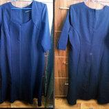 Наш 52-54 размер платье темно-синего цвета в деловом стиле от Wardrobe.