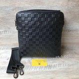мужская кожаная сумка через плечо Louis Vuitton lv черная барсетка чоловіча сумка шкіряна