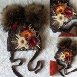 Шапка 1-3 года, зимняя шапка, шапка на флисе, шапка для девочки, шапка с бубонами, шапка, снуд, шарф