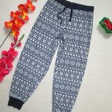 Флисовые теплые уютные домашние пижамные брюки в зимний орнамент M&S.