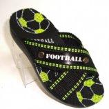 Детские шлепанцы для мальчика Футбол 24-09с черно/зеленый