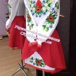 122 украинское платье детское с вышивкой Мак в травке