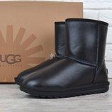 Угги мужские кожаные UGG Australia зимние сапоги черные