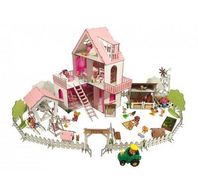 Кукольный домик солнечная дача с двориком, фермой, текстилем и мебелью для кукол лол и других до