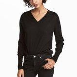 Джемпер из шерсти мериноса H&M PREMIUM QUALITY M чёрный шерсть мериноса