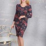 Женское платье в цветочный принт, 46-52рр