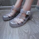 Силиконовые босоножки, сандали, блестящие прозрачные на каблуке