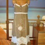 Платье сарафан льняной лен с вышивкой и кружевом р.8-10 Турция