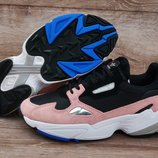 Крутенные женские кроссовки Adidas Falcon Black Pink