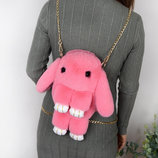 Детская сумка-рюкзак меховой заяц, 6 цветов