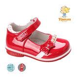 Туфли Том М 5074А красные бант бусинки 21-25