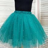 Пышные юбки из фатина и евросетки в бусины для девочки и женские