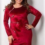 Шикарное велюровое платье с молниями большие размеры 50-56 скл.1 арт.49693