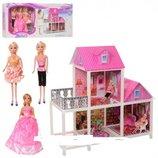 Кукольный домик 2-х этажный с мебелью три куклы 66883