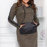 Шерстяное ангоровое платье батал с люрексовой нитью и кожаными вставками скл.1 арт.49683