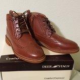 Комфортные легкие высокие ботинки туфли оксфорды для мальчика Deer Stags шнуровка и молния