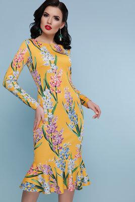 Платье с принтом Желтые тюльпаны Фаина