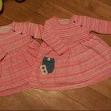Платья некст Next тепленькие для двойни, девочек близняшек