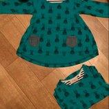 Платье туника в кролики Next Некст для двойни девочек близняшек