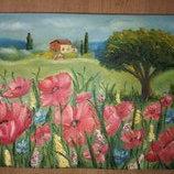 Картина масляными красками на холсте на подрамнике