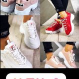 Кроссовки Фила Fila натуральная кожа белые, красный, пудра
