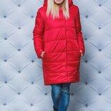 Женское зимнее пальто зимние в красном цвете 42-54