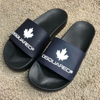 Шлепанцы Dsquared2 Slide Sandals Logo Dark Blue/Black