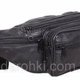 Кожаная сумка на пояс SW912 черная бананка поясная барсетка мужская через плечо натуральная кожа