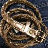 Фирменный плетеный золотистый ремень H&M,тонкий ремешок,пояс,поясок подарок