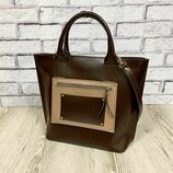 Деловая женская сумка из натуральной кожи, шоколадная матовая 1635