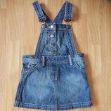 Фирменный джинсовый сарафан f&f малышке 2-3 года состояние оличное