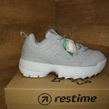 Модные кроссовки из натуральной кожи restime в стиле fila disruptor 2 р.36-40 4 цвета