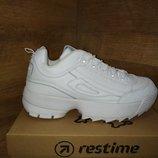 4 цвета Модные кроссовки из натуральной кожи restime в стиле fila disruptor 2 р.36-40