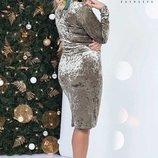 Платье р-ры 48,50,52,54 Длина изделия-100 длина рукава-60см Материал мраморный Бархат