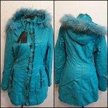 Супер Брендовая Стильная Куртка Пальто Бирюза Натуральный Мех