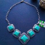 Роскошное Колье с бирюзой, ожерелье украшение, аксессуар