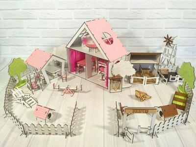 Кукольный домик с двориком, фермой,мебелью и текстилем для лол куколок до 20см