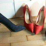 Скидка Лодочки красные синие туфли шпилька 9см чераоні туфлі сині