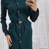 Стильное платье рубашка ткань креп-костюмка три цвета скл.1 арт.49818