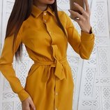 Платье рубашка с пояском горчица бутылка марсалового