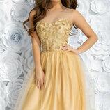 Шикарное вечернее платье гипюр с апиликацией сетка шелк-армани скл.1 арт.49820