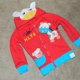 Кофта детская Красная с животными на молнии на на 3-4 года.