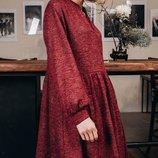 Стильное шерстяное ангоровое платье трапеция свободного кроя скл.1 арт.49836