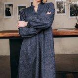 Стильное шерстяное ангоровое платье трапеция свободного кроя скл.1 арт.49835
