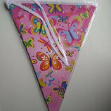 Гирлянда флажки розовые бабочки с днем рождения декор праздника