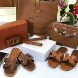 Женская кожаная сумка Hermes, кожаная сумка Dior, кожаные шлепанцы Hermes