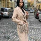 Пальто LAMA Кашемировое пальто, с 2 карманами, на карманах сьемный мех Люкс Качества искусственный