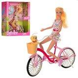 Кукла DEFA 8276 Барби 30см велосипед, собачка