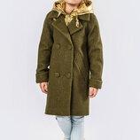 Пальто демисезонное для девочки бренда X-Woyz DT-8275-1, Цвет Хаки-Золото Размеры 32- 42